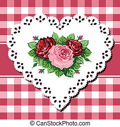 buquet, coração, rosa ata, vindima