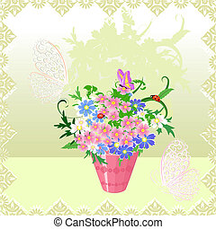 buquet, primavera, vaso