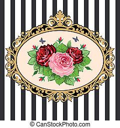 buquet, vindima, quadro, rosa