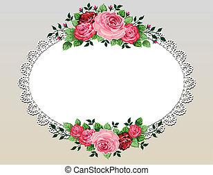 buquet, vindima, quadro, rosas