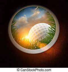 buraco, bola, golfe