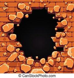 buraco, parede, tijolo vermelho