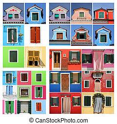 burano, coloridos, casa, abstratos