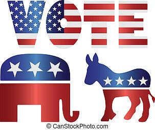 burro, democrata, ilustração, elefante, voto, republicano