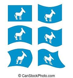 burro, unidas, flag., nacional, político, estado, democrata, estados, america., eleição, partido, bandeira, símbolo, presidencial