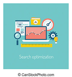 busca, conceito, optimization, ilustração