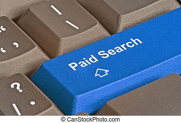 busca, tecla, pago