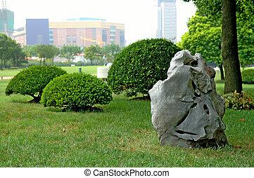 bush, pedra, manicured