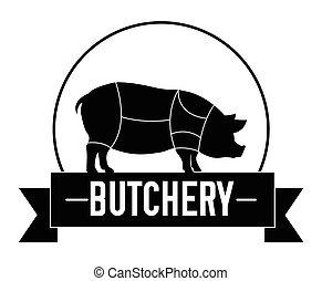 butchery, emblema, vaca
