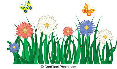 butterflies., flores, fundo, ilustração, capim, floral, vetorial