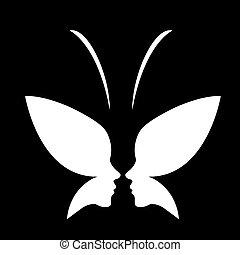 butterfly-, rosto, logotipo, senhora