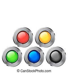 buttons., metal, redondo