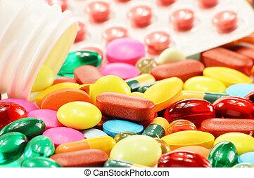 cápsulas, dietético, droga, composição, suplemento, pílulas