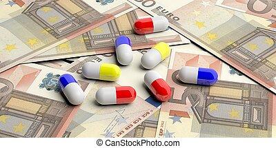 cápsulas, ilustração, notas, experiência., euro, pílulas, 3d
