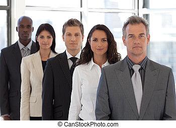 câmera, negócio, jovem, equipe, positivo, olhar