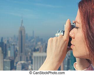 câmera, york, menina, jovem, novo, cidade, telhado