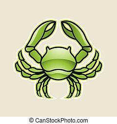 câncer, ilustração, vetorial, verde, lustroso, carangueijo, ou, ícone