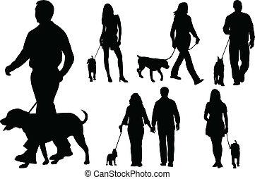cães andando, pessoas