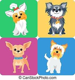 cão, desenho, ícone, jogo, apartamento