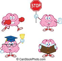 cérebro, 3, caricatura, cobrança, mascote