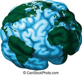 cérebro, globo, ilustração, mundo