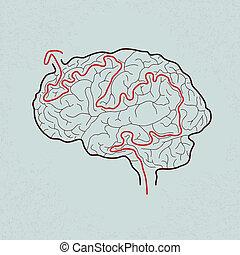 cérebro, labirinto, correto, caminho