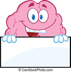cérebro, sobre, em branco, sorrindo, sinal