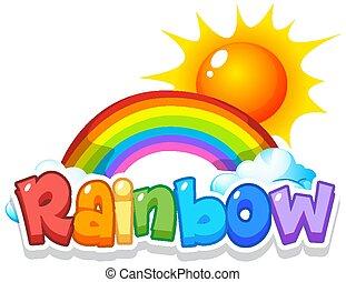 céu, arco íris, fundo, desenho, fonte, palavra