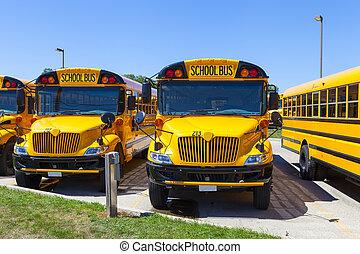 céu azul, amarela, autocarro, escola