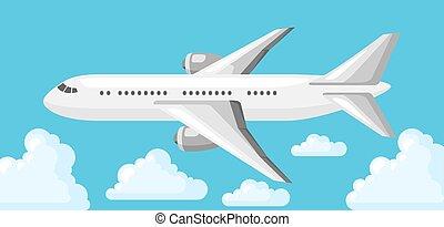 céu azul, avião, nuvens, ilustração