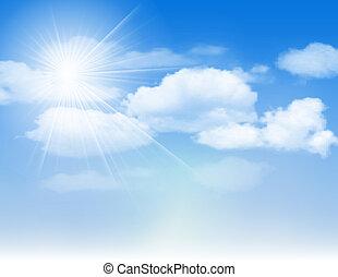 céu azul, nuvens, sun.