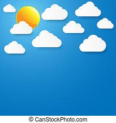 céu azul, papel, nuvens, sun.