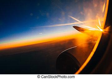 céu, contra, altura, janela, avião, nublado, turbina, asa, amanhecer