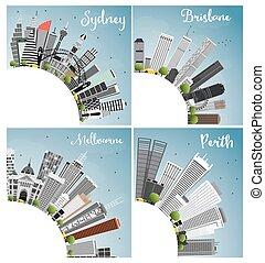 céu, edifícios, cidade, sydney, space., cities., melbourne, skyline, cópia, azul, cinzento, australiano, brisbane, perth