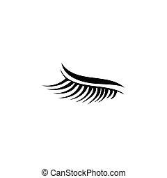 cílio, isolado, ilustração, desenho, modelo, logotipo