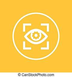 círculo, ícone, olho, engrenagem