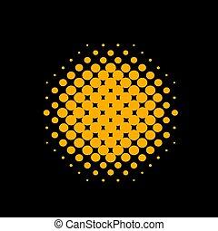 círculo alaranjado, vetorial, halftone