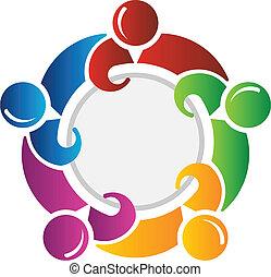 círculo, ao redor, equipe