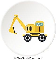 círculo, escavador, ícone