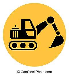 círculo, escavador, amarela, ícone