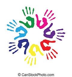 círculo, impressões, coloridos, mão