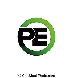 círculo, letra, logotipo, vetorial, pe