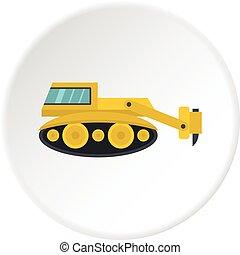 círculo, martelo, hidráulico, escavador, ícone