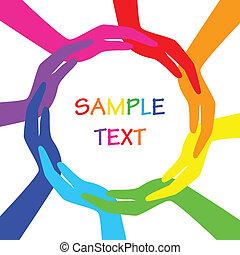 círculo, vetorial, coloridos, mãos