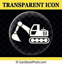 círculo, vetorial, transparente, escavador, ícone