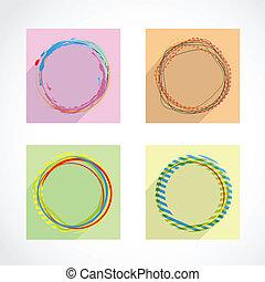 círculos, abstratos, jogo, vetorial, experiência.