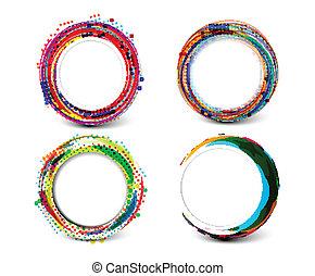 círculos, abstratos, tecnologia, retro