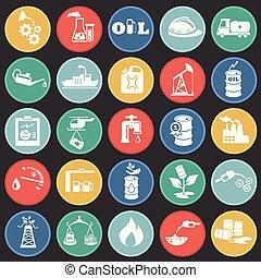 círculos, apartamento, óleo, ícones, indústria, fundo