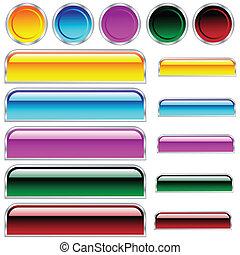 círculos, botões, arredondado, sortido, cores, lustroso, scaleable, retângulos