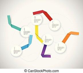 círculos, coloridos, infographic, papel, modelo, ribbons.